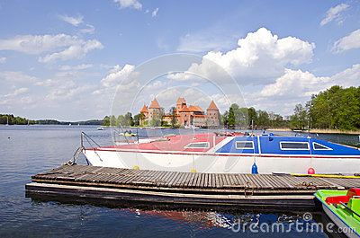 Historical Trakai castle and boats on the lake