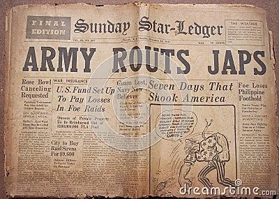 Historical World War Headlines Editorial Stock Image