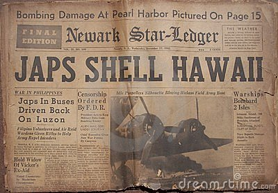 Historical World War Headlines Editorial Photo