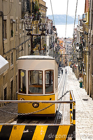Historical yellow tramway in Lisbon Editorial Stock Image