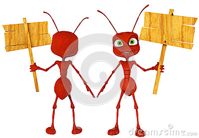 Historieta de la hormiga que detiene un cierre del canto