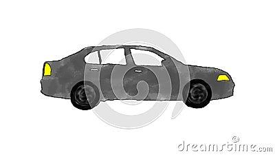 Historieta dibujada mano Gray Car Driving en un lazo en Alpha Channel libre illustration