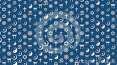 Historique de la diffusion des symboles religieux Concept de diversité culturelle Boucle 4 Ko illustration de vecteur