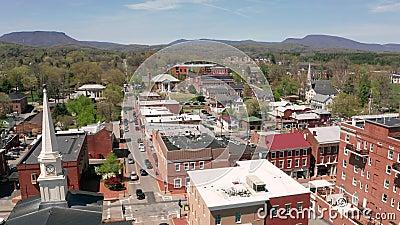 Historisch Gebouwen Luchtperspectief Lexington Virginia de V.S. stock footage