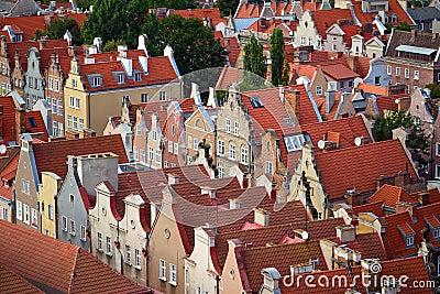 Historische huizen in oude stad van Gdansk