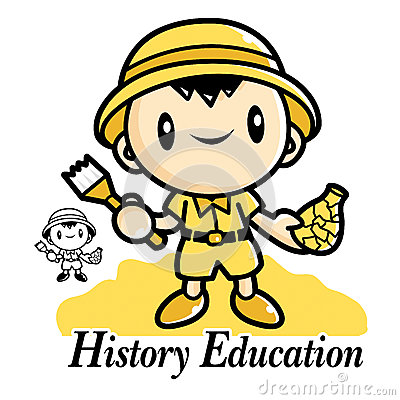 History Education and mascot. Education and life Character Desig