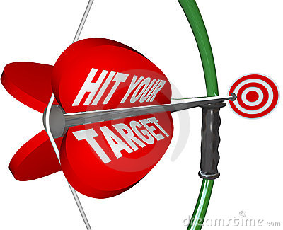 Hit Your Target - Bow and Arrow Aimed at Bulls Eye
