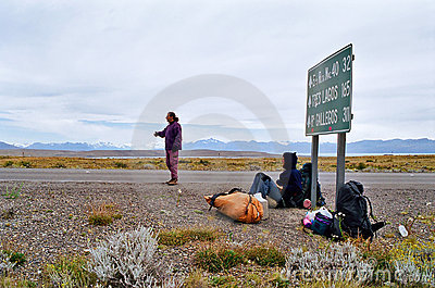 Hitchhicking in Patagonia Argentina, Chile Editorial Photography