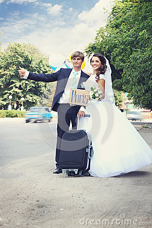Free Hitchhiking In A Honeymoon, Tinted Royalty Free Stock Photography - 45192277