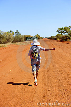 Hitchhiking Woman in Outback