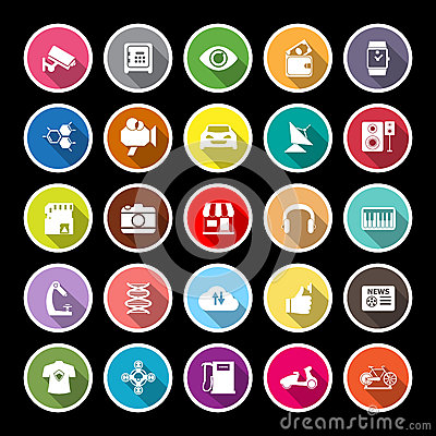 Hitechnology flat icons with long shadow Vector Illustration