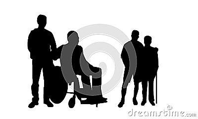 Hjälpfolket silhouette samkväm för att fungera