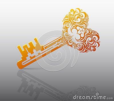 Hjärta formar nyckel-