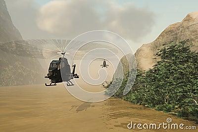 Hélicoptères de combat sur la mission secrète
