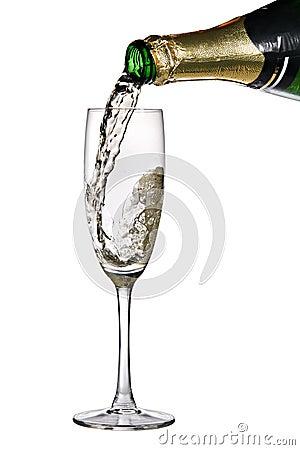 Hälld champagneflöjt
