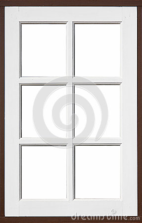 Hölzernes Fenster mit Weiß und brownd Farbe