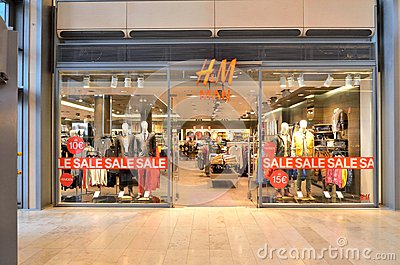 H&M clothing store in Hamburg city, Germany Editorial Stock Image