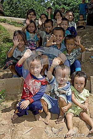 Hmong Лаос детей Редакционное Изображение