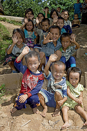 Hmong children in Laos Editorial Image