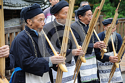 Hmong musicians from Guizhou perform on lusheng Editorial Image