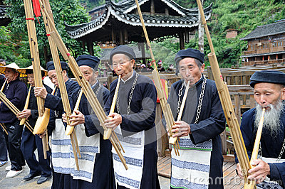 Hmong musicians from Guizhou perform on lusheng Editorial Photo