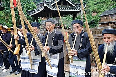 Hmong musicians from Guizhou perform on lusheng Editorial Photo