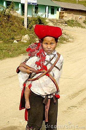 Hmong red Sapa  woman and baby Editorial Stock Photo