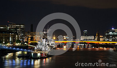 HMS Belfast at night Editorial Image