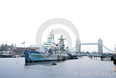 Hms belfast battleship river thames london uk