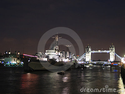 HMS Belfast and Tower bridge at night