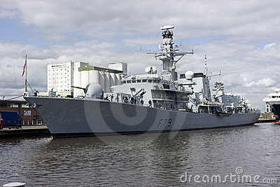 HMS Portland at Leith, Edinburgh, Scotland Editorial Image