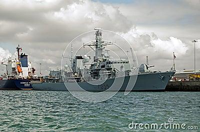 HMS Richmond, Portsmouth Redaktionell Arkivbild
