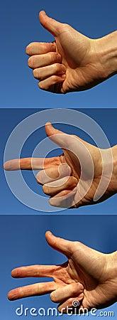 Hände, die eine zwei drei zählen