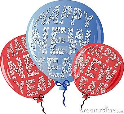 Free HNYBalloonsRedBlue Royalty Free Stock Photography - 7255487