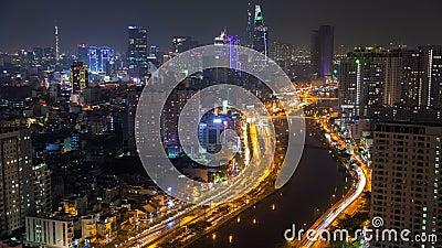 Ho Chi Minh city night aerial cityscape, Vietnam timelapse. 4k stock video footage