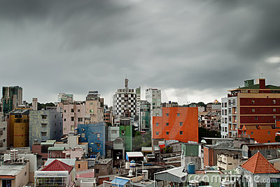 Ho Chi Minh City (Saigon) under monsonic clouds
