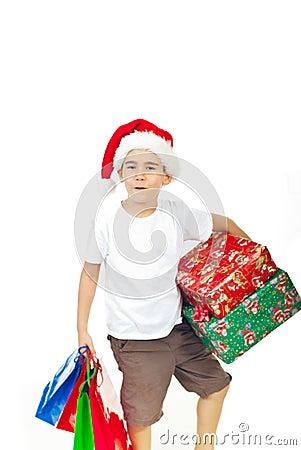 Ho-ho-ho!Boy with X-mas presents