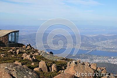 Hobart von der Montierung Wellington, Tasmanien