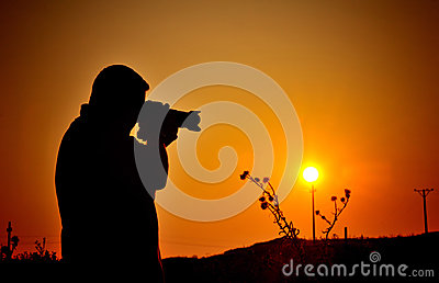 Hobby photographer silhouette