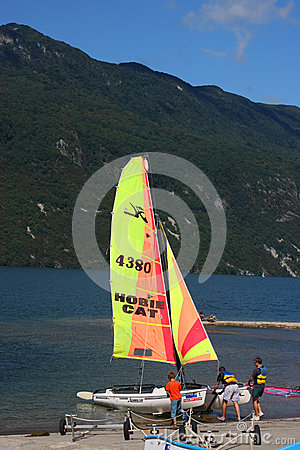 Hobie cat on Lac du Bourget Editorial Image