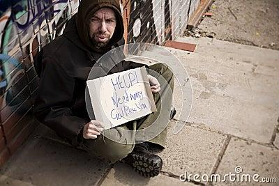 Hobo with placard