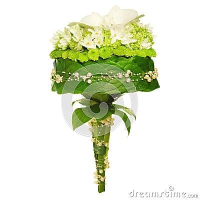 Hochzeitsblumenstrauß getrennt auf Weiß.