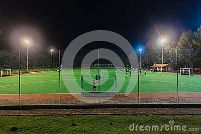 Hockey Astro Field Players Night Practice Editorial Stock Photo