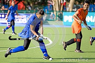 Hockey de las mujeres Foto editorial
