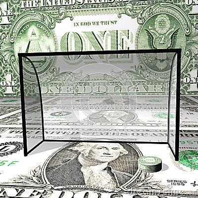Hockey on dollar ice, a dollar washer in collars