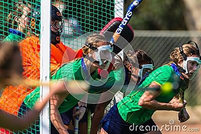 Hockey Girls Masks Goals Action Championship