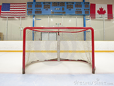 Hockey net with scoreboard