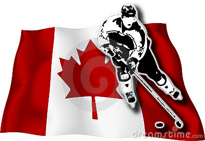 Hockey player on Canadian flag