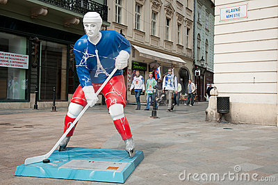 Hockey players in the Bratislava streets Editorial Photography