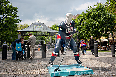 Hockey players in the Bratislava streets Editorial Image